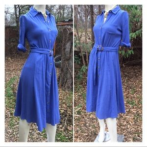 80s Crinkle Fabric Belted Button Down Shirt Dress